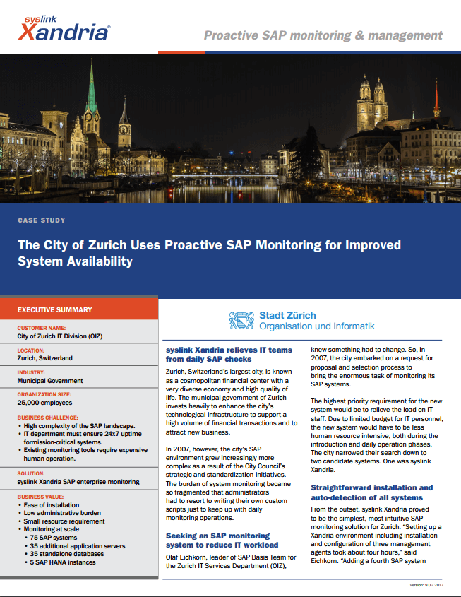 City of Zurich case study  Proactive SAP Monitoring