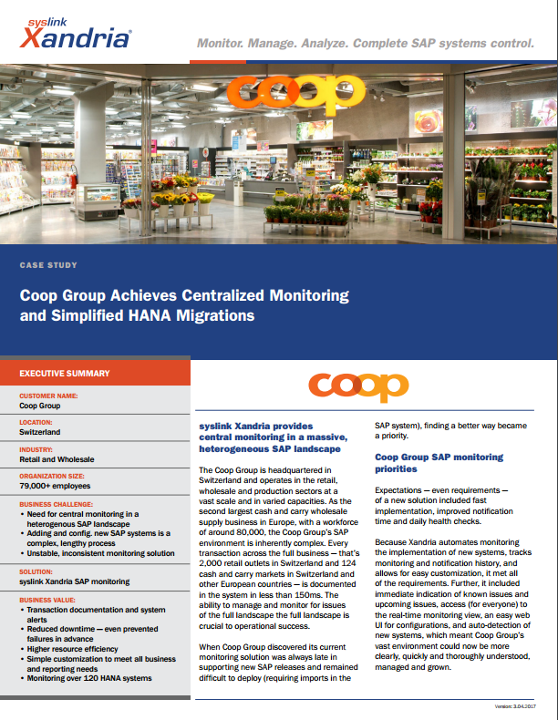 Coop case study - Centralized Monitoring and Simplified HANA Migrations