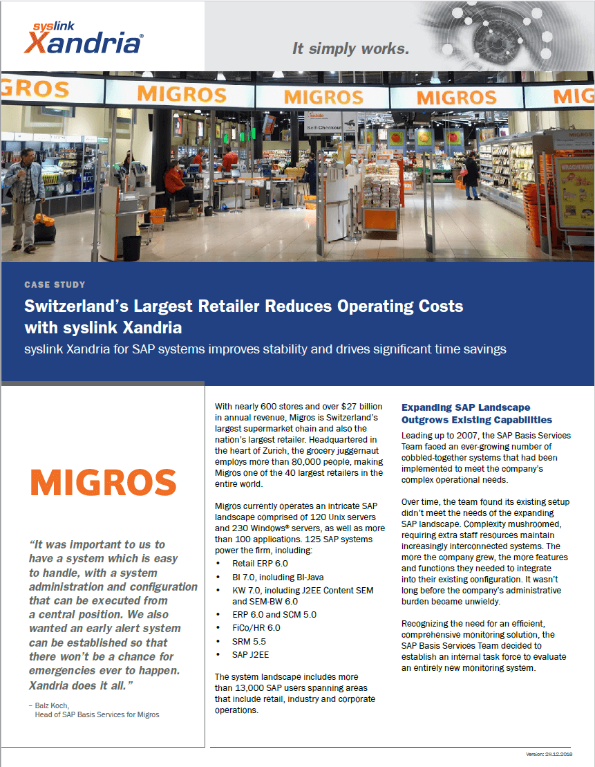 MIGROS case study - preventing SAP production failures