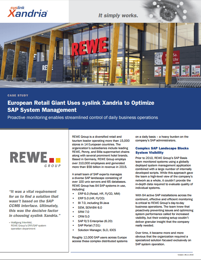REWE Group case study optimizing SAP system management