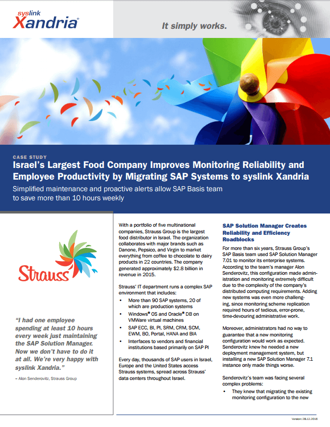 Strauss Group case study SAP monitoring savings